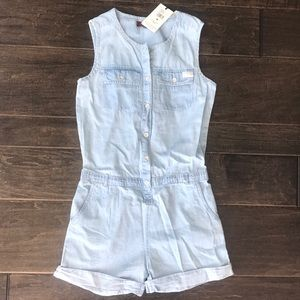 7 For All Mankind Chambray Denim Romper